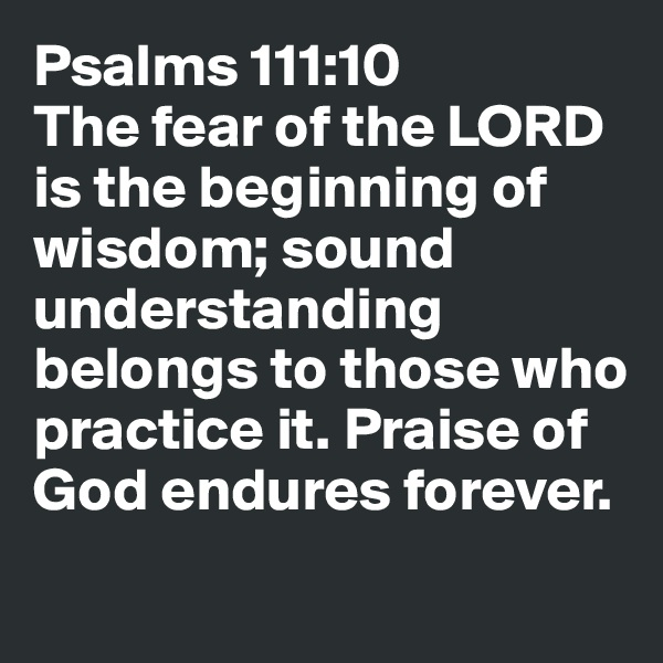 Psalms 111:10 The fear of the LORD is the beginning of wisdom; sound understanding belongs to those who practice it. Praise of God endures forever.