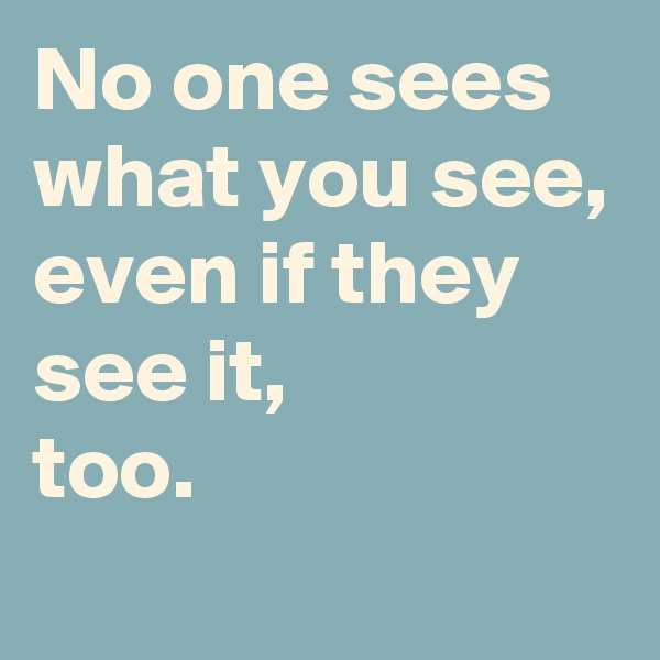 No one sees what you see, even if they  see it,  too.