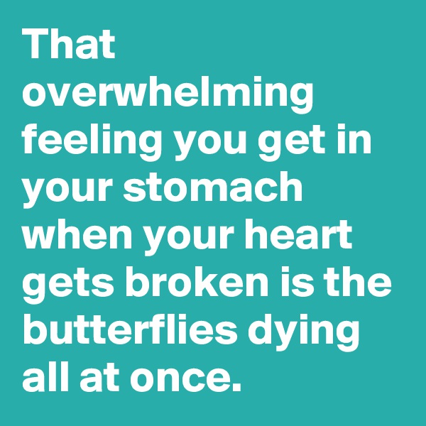 That overwhelming feeling you get in your stomach when your heart gets broken is the butterflies dying all at once.