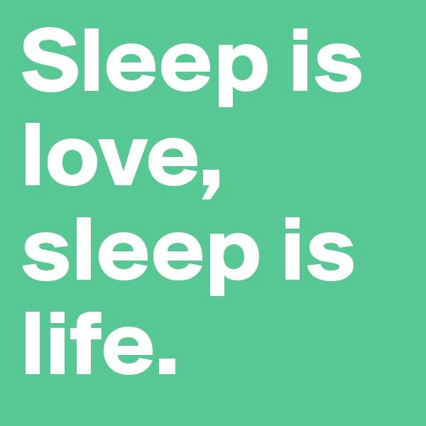 Sleep is love, sleep is life.