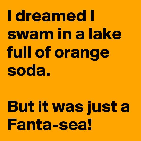 I dreamed I swam in a lake full of orange soda.  But it was just a Fanta-sea!