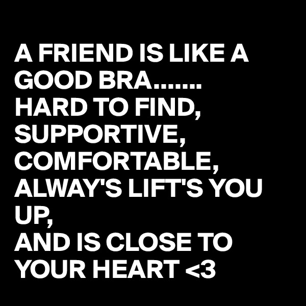 A FRIEND IS LIKE A GOOD BRA....... HARD TO FIND, SUPPORTIVE, COMFORTABLE, ALWAY'S LIFT'S YOU UP, AND IS CLOSE TO YOUR HEART <3