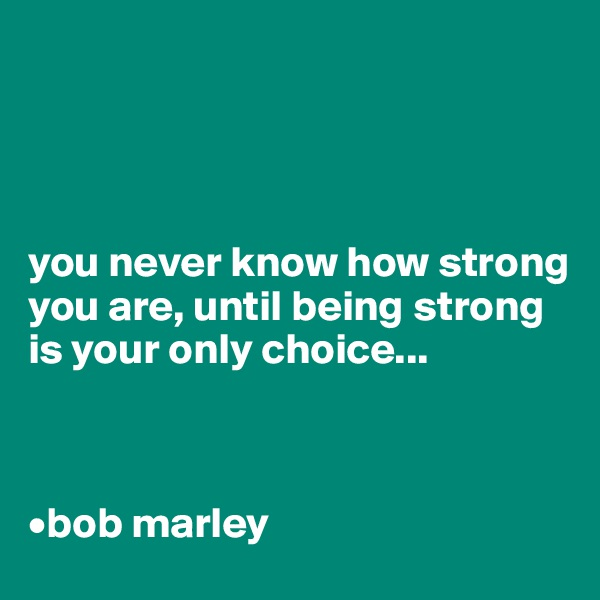 you never know how strong you are, until being strong is your only choice...    •bob marley