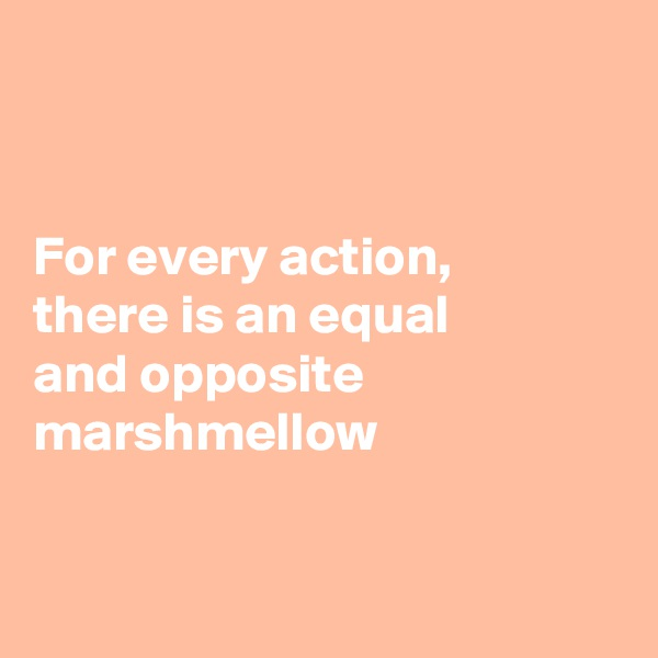 For every action,  there is an equal  and opposite marshmellow