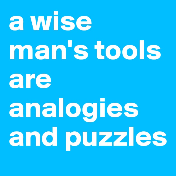 a wise man's tools are analogies and puzzles