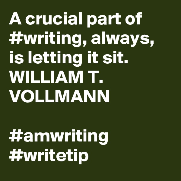 A crucial part of #writing, always, is letting it sit. WILLIAM T. VOLLMANN  #amwriting #writetip