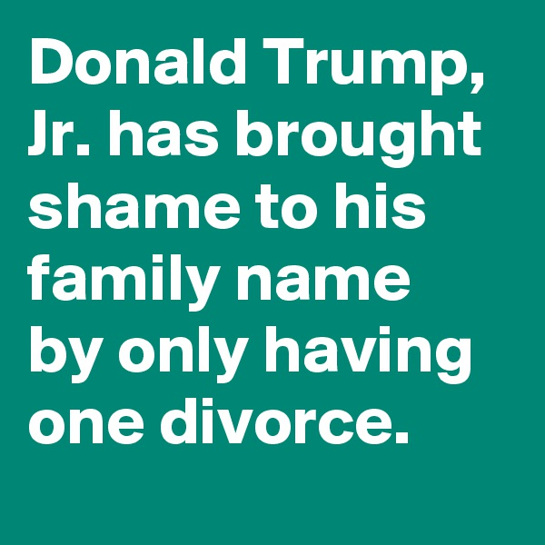 Donald Trump, Jr. has brought shame to his family name by only having one divorce.