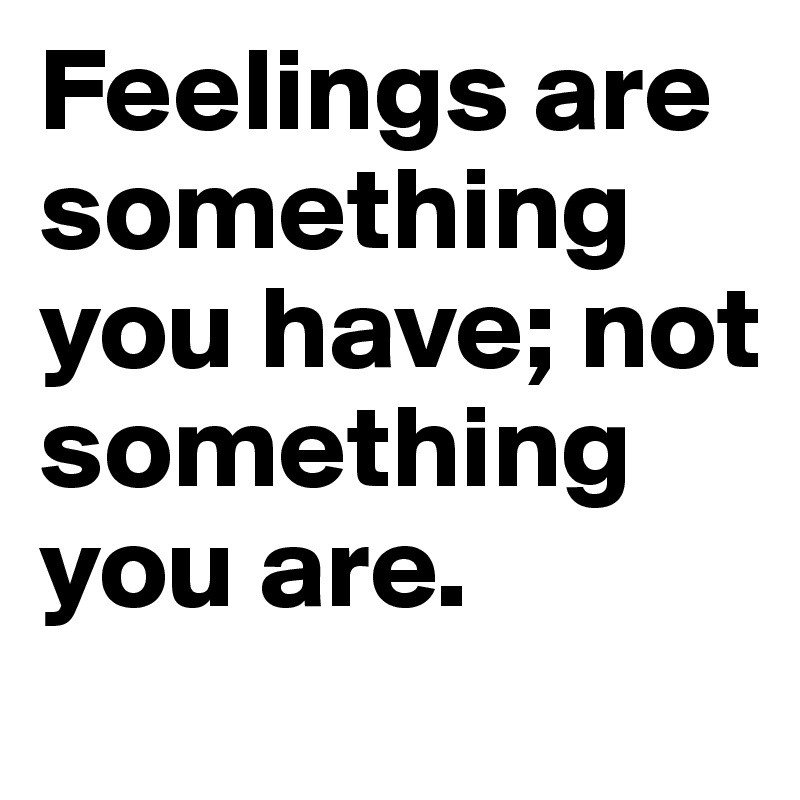 Feelings are something you have; not something you are.