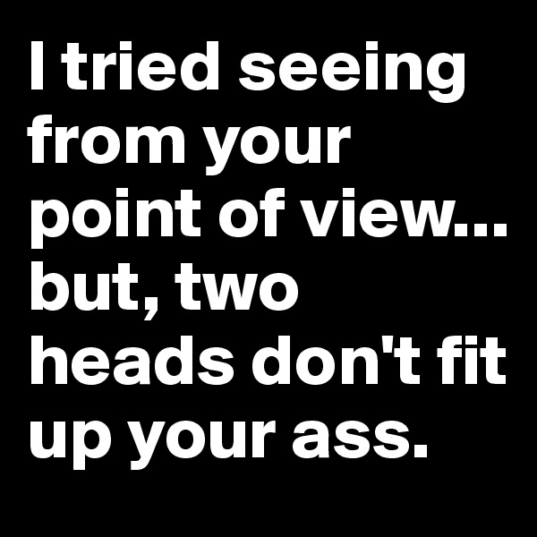 I tried seeing from your point of view... but, two heads don't fit up your ass.