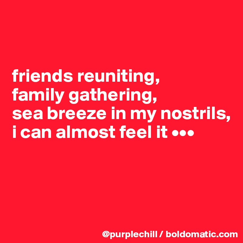 friends reuniting, family gathering, sea breeze in my nostrils, i can almost feel it •••