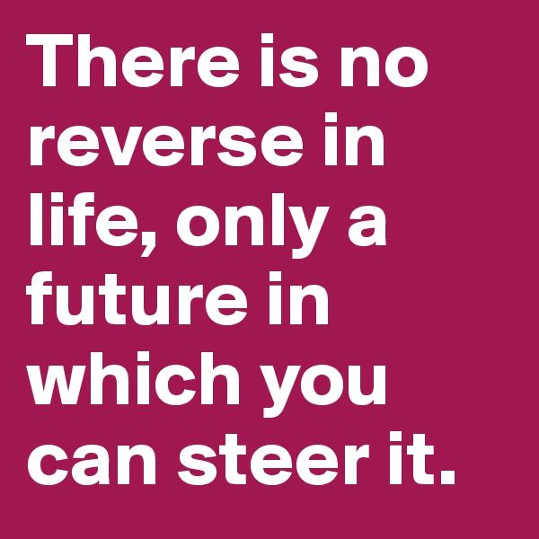 There is no reverse in life, only a future in which you can steer it.