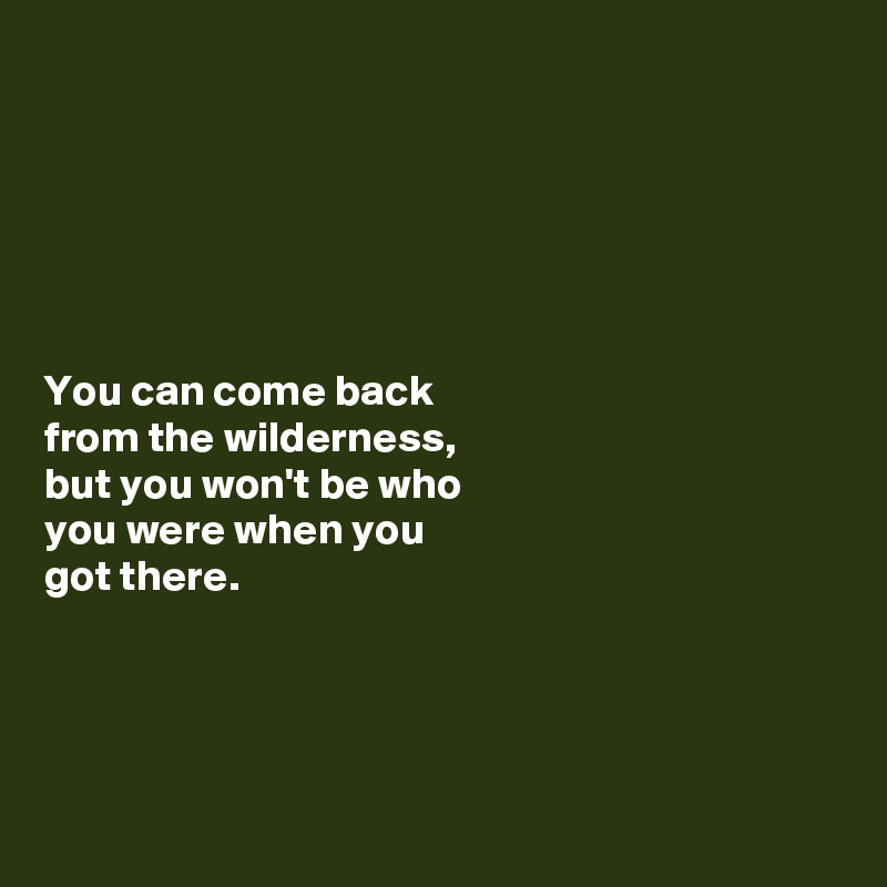 You can come back  from the wilderness,  but you won't be who  you were when you  got there.
