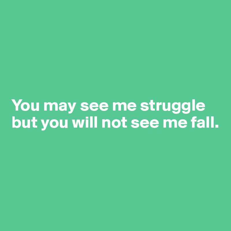 You may see me struggle  but you will not see me fall.