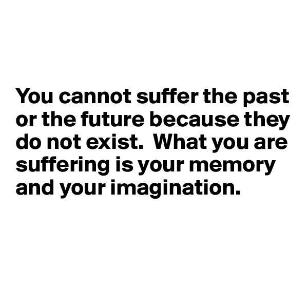 You cannot suffer the past or the future because they do not exist.  What you are suffering is your memory and your imagination.