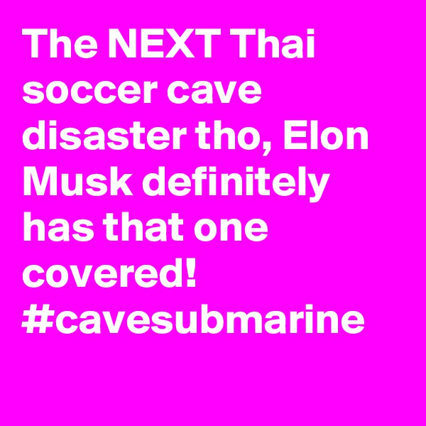 The NEXT Thai soccer cave disaster tho, Elon Musk definitely has that one covered! #cavesubmarine