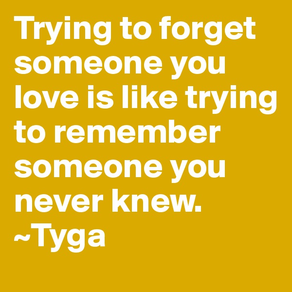Trying to forget someone you love is like trying to remember someone you never knew. ~Tyga