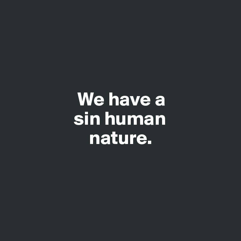 We have a                  sin human                     nature.