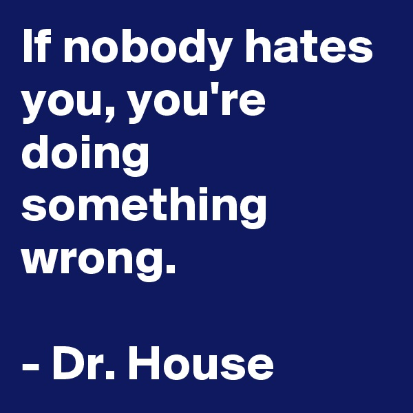 If nobody hates you, you're doing something wrong.  - Dr. House