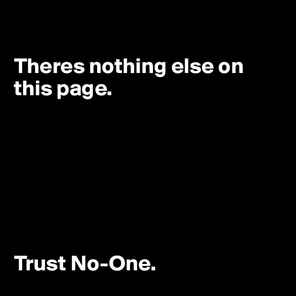 Theres nothing else on this page.        Trust No-One.