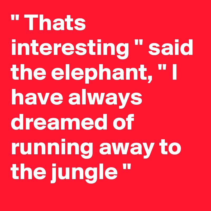 """"""" Thats interesting """" said the elephant, """" l have always dreamed of running away to the jungle """""""