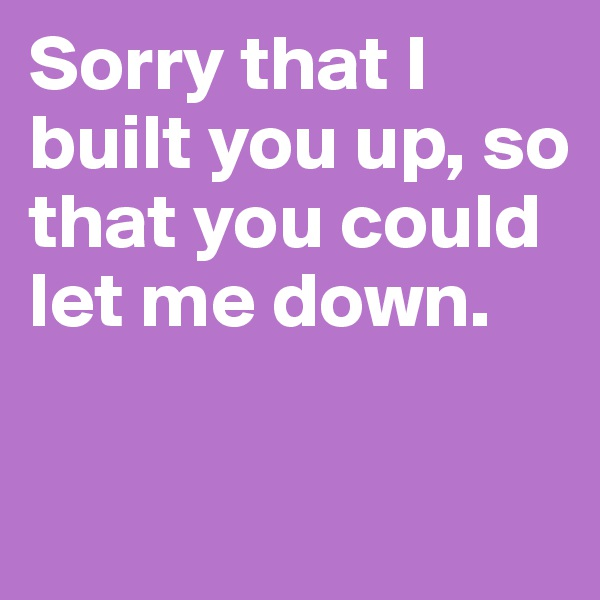 Sorry that I built you up, so that you could let me down.