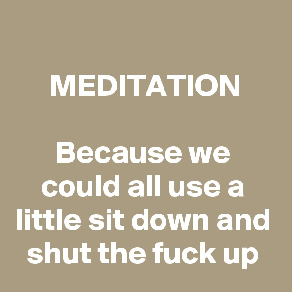 MEDITATION  Because we could all use a little sit down and shut the fuck up