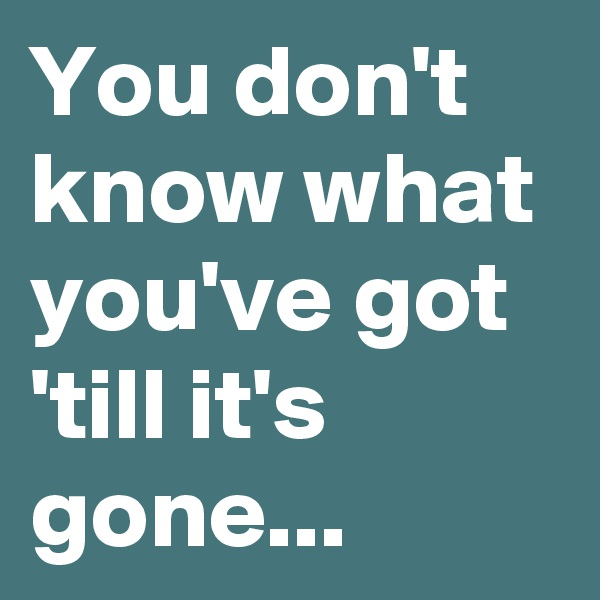 You don't know what you've got 'till it's gone...