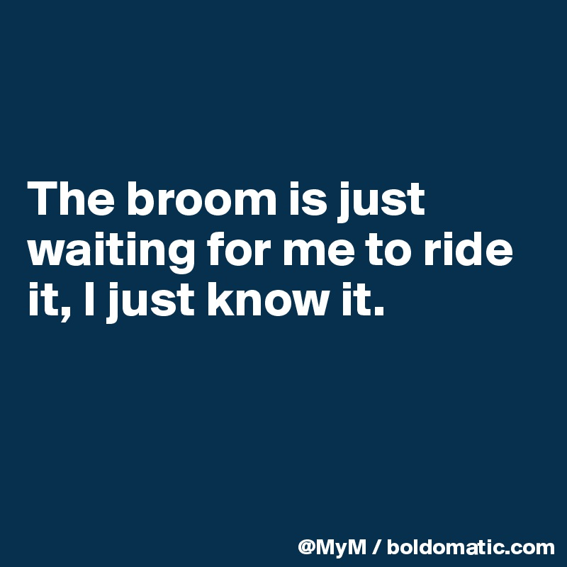 The broom is just waiting for me to ride it, I just know it.