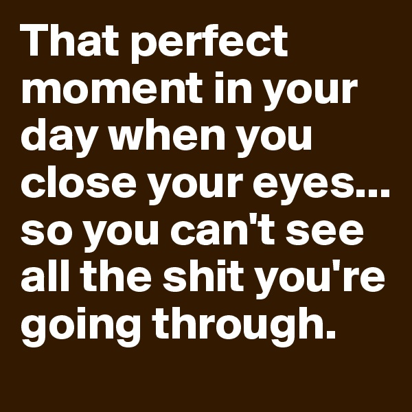 That perfect moment in your day when you close your eyes... so you can't see all the shit you're going through.