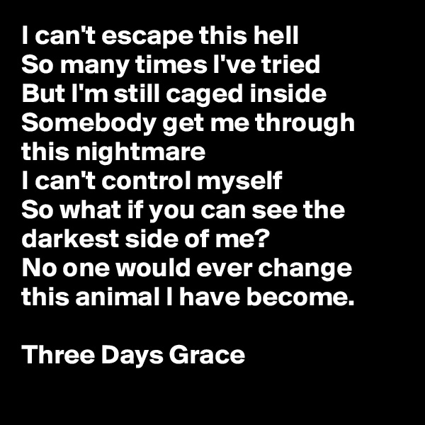 I can't escape this hell So many times I've tried But I'm still caged inside Somebody get me through this nightmare I can't control myself So what if you can see the darkest side of me? No one would ever change this animal I have become.  Three Days Grace