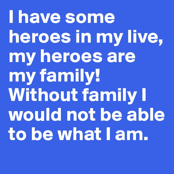I have some heroes in my live, my heroes are my family! Without family I would not be able to be what I am.