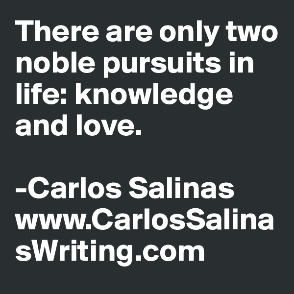 There are only two noble pursuits in life: knowledge and love.  -Carlos Salinas www.CarlosSalinasWriting.com