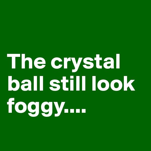 The crystal ball still look foggy....