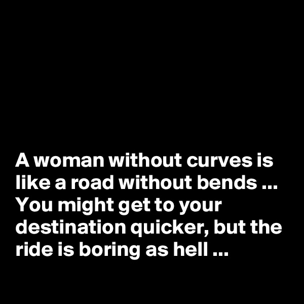 A woman without curves is like a road without bends ... You might get to your destination quicker, but the ride is boring as hell ...