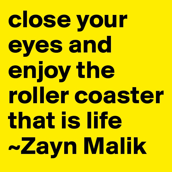 close your eyes and enjoy the roller coaster that is life ~Zayn Malik