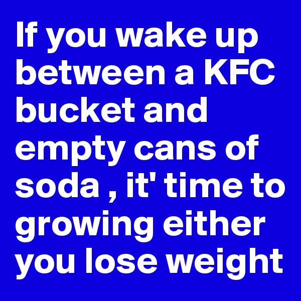 If you wake up between a KFC bucket and empty cans of soda , it' time to growing either you lose weight