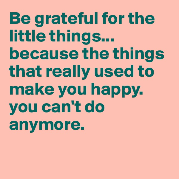 Be grateful for the little things... because the things that really used to make you happy. you can't do anymore.