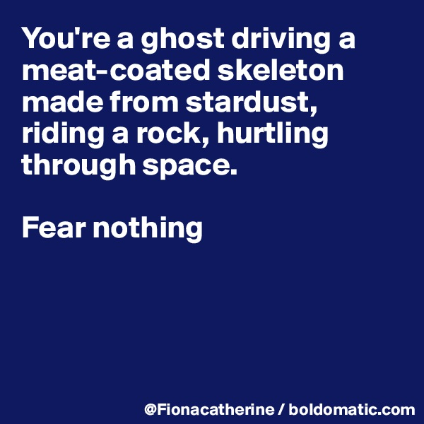 You're a ghost driving a meat-coated skeleton made from stardust, riding a rock, hurtling through space.  Fear nothing