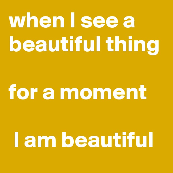 when I see a beautiful thing  for a moment   I am beautiful