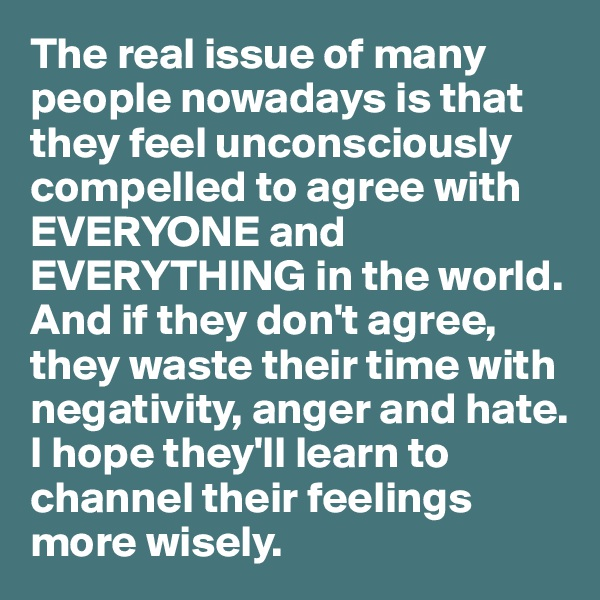 The real issue of many people nowadays is that they feel unconsciously compelled to agree with EVERYONE and EVERYTHING in the world.  And if they don't agree, they waste their time with negativity, anger and hate.  I hope they'll learn to channel their feelings more wisely.