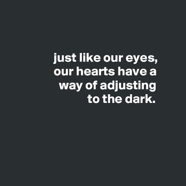 just like our eyes,                  our hearts have a                    way of adjusting                               to the dark.