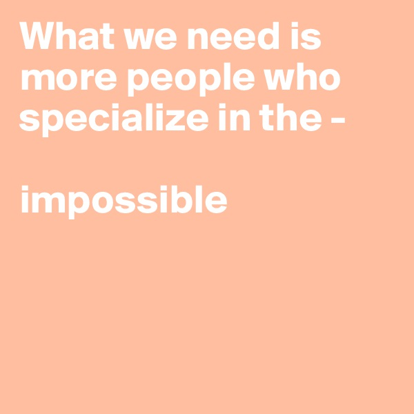 What we need is more people who specialize in the -   impossible