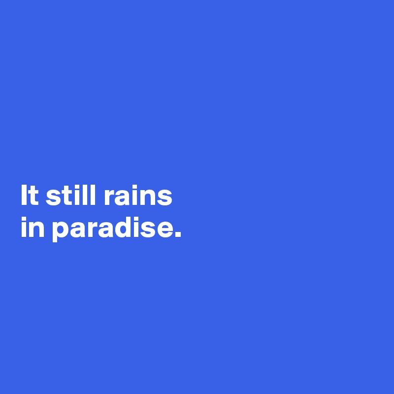 It still rains  in paradise.