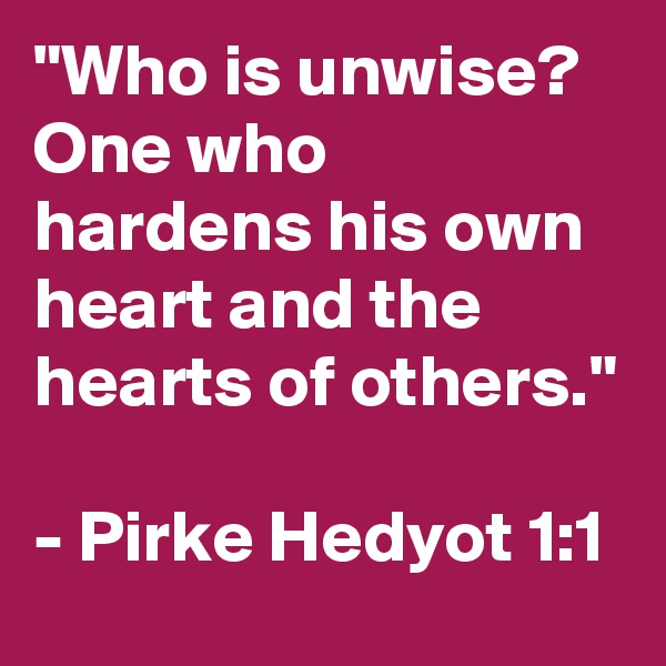 """""""Who is unwise? One who hardens his own heart and the hearts of others.""""  - Pirke Hedyot 1:1"""