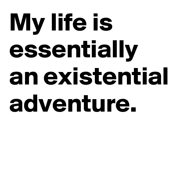 My life is essentially an existential adventure.