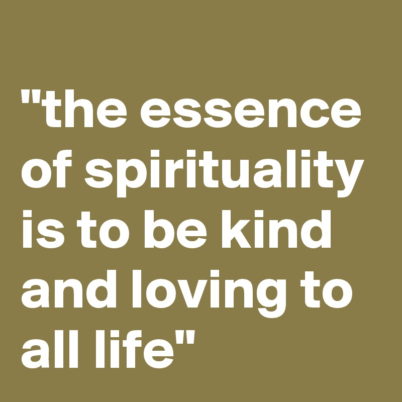 """the essence of spirituality is to be kind and loving to all life"""