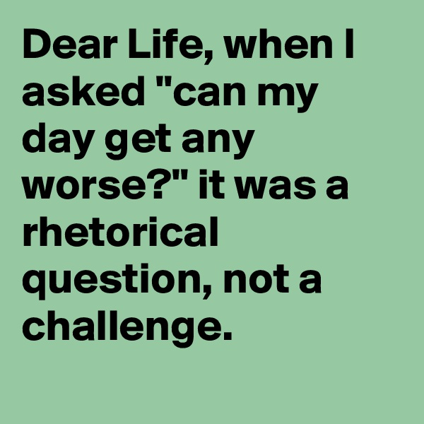 "Dear Life, when I asked ""can my day get any worse?"" it was a rhetorical question, not a challenge."