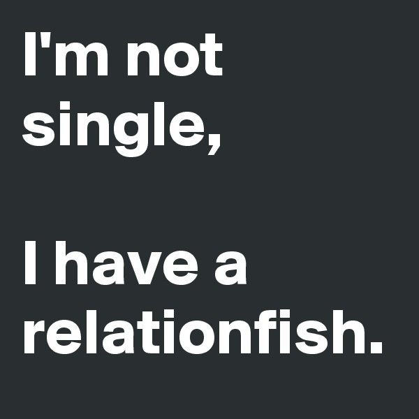 I'm not single,  I have a relationfish.