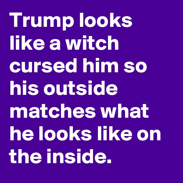 Trump looks like a witch cursed him so his outside matches what he looks like on the inside.