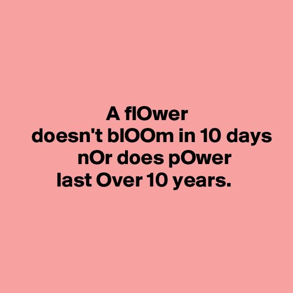 A flOwer     doesn't blOOm in 10 days                nOr does pOwer           last Over 10 years.